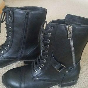 Woman's black combat boots